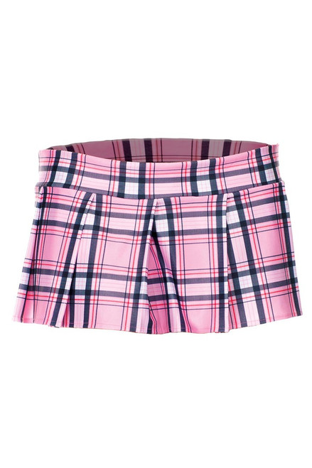 Shop this women's school girl lingerie featuring a light pink plaid mini skirt