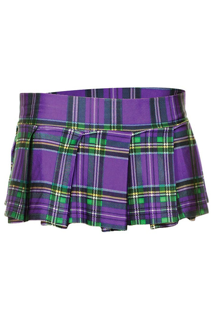 Shop this women's Martis Gras skirt featuring a adult school girl outfit with purple plaid mini skirt