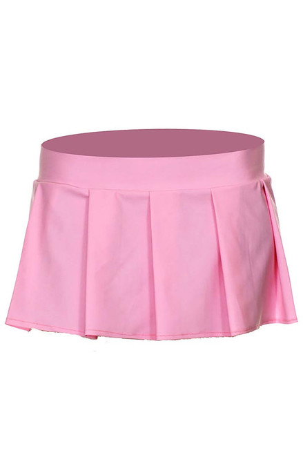 Shop this light pink pleated mini skirt for your school girl lingerie