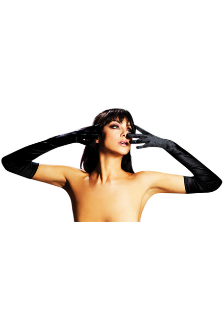Shop this women's sexy black satin opera gloves