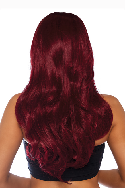 Shop these sexy accessories featuring a long wavy burgundy wig with long natural curls that exceed 22 inches