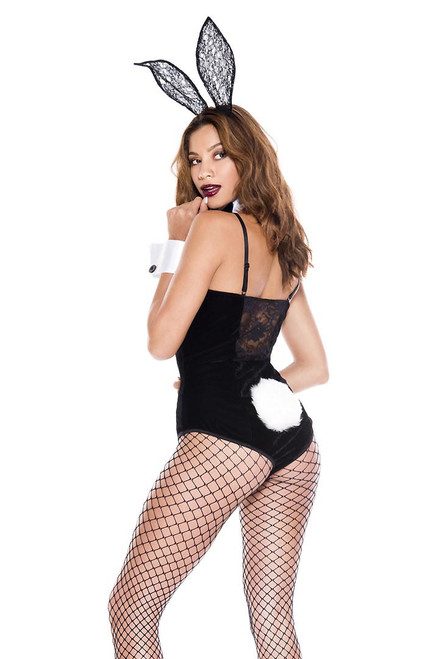 Shop this women's sexy bunny costume including a black velvet bodysuit with large bunny tail