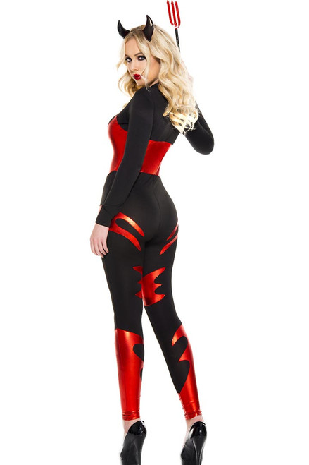 Shop this women's sexy black devil costume with black jumpsuit and full front zipper