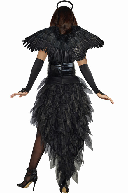 Shop for women's dark angel costumes with black feather wings and high-low dress