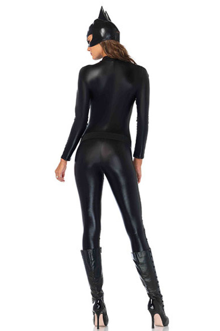 Shop women's black Crime Fighting Cat Costume with quilted leather bodysuit