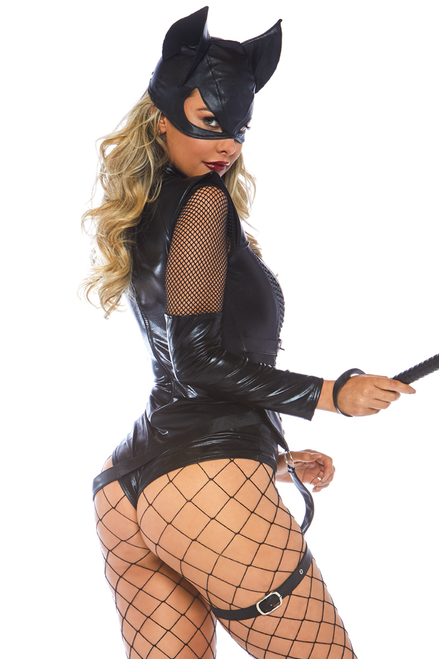 Shop this women's sexy dominatrix cat costume with leather harness and head mask