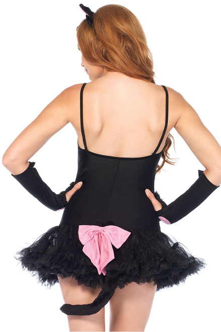 Shop this women's pretty kitty set featuring a black cat Halloween costume accessory kit with ears headband, gloves, and tail with large pink bow