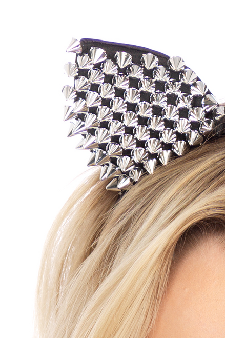 shop this  closeup of these Halloween costume accessory for your sexy cat costume featuring these silver studded cat ears head piece
