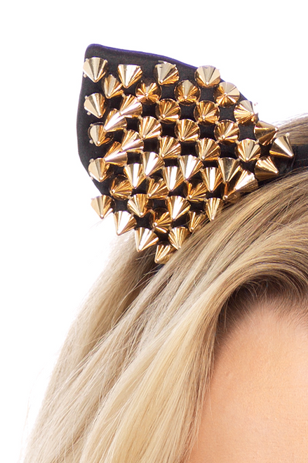 shop this  close up Halloween costume accessory for your sexy cat costume featuring these gold studded cat ears head piece