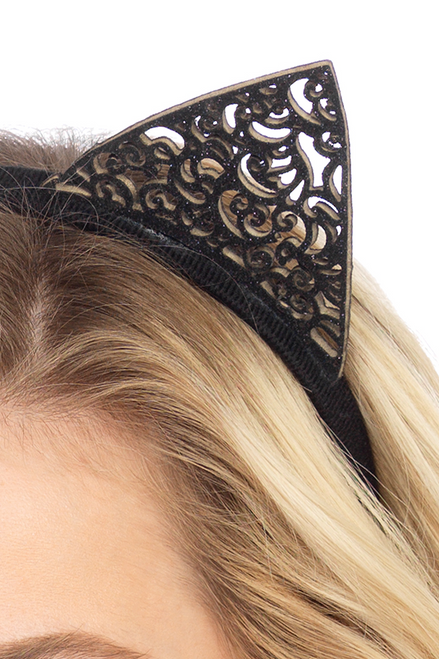 Shop these Halloween costume accessories featuring black filigree cat ears headband for a sexy cat costume