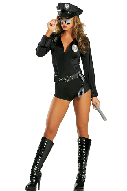 Shop this women's sexy cop costume featuring a long sleeve bodysuit with cop accessories