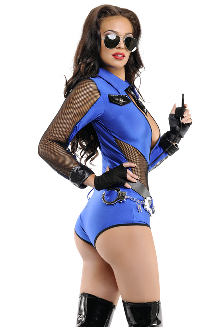 Shop this women's royal blue beat cop sexy cop costume with long mesh sleeves and accessories