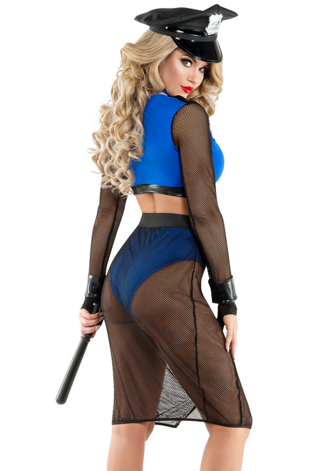 Shop this women's sexy pinup cop costume with royal blue color crop top and high waist pencil skirt