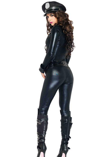 Shop this women's sexy cop costume with glossy sheen leather material and catsuit