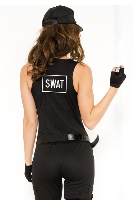 Shop this women's sexy SWAT costume featuring a black sleeveless bodysuit