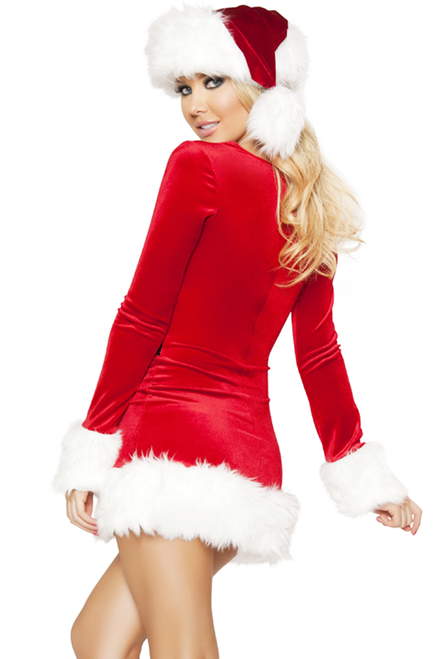 Shop this women's sexy red velvet Holiday dress with white fur accents.