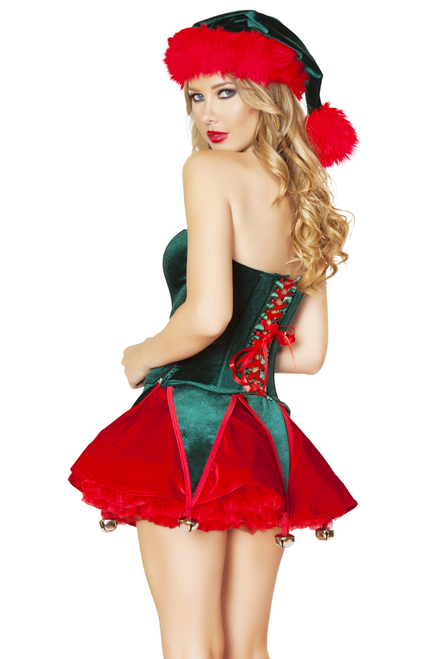 Shop women's sexy elf costume - green and red women's corset & skirt with hanging bells and bow detail.