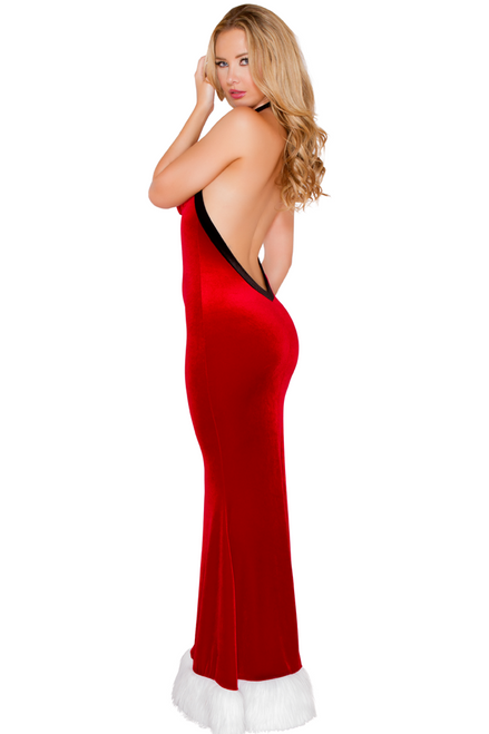Shop this women's long sexy Santa gown with plunging open back and white fur trim