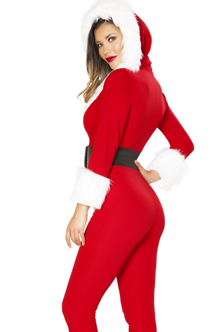 Shop this women's 2pc Santa Baby holiday jumpsuit featuring a red catsuit jumpsuit with faux fur attached hood and waist belt