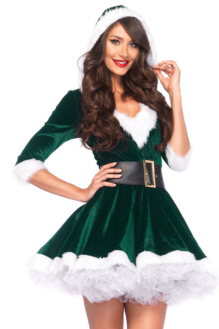 Shop this women's green velvet Christmas costume that features a flared mini dress with attached hood