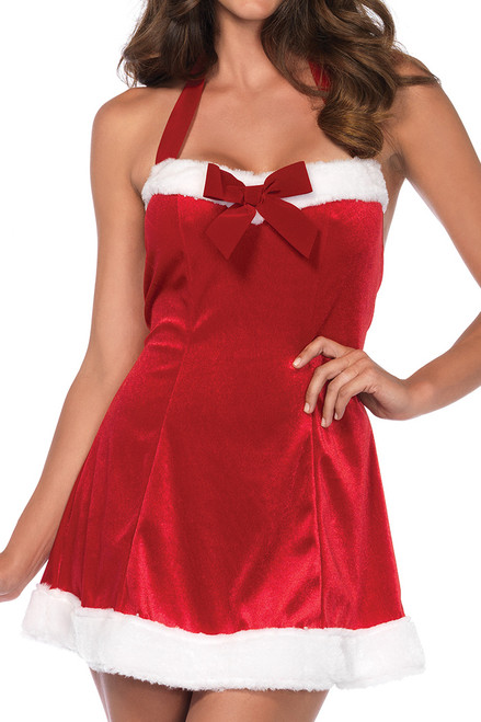 Shop this women's sexy red velvet Santa dress with halter neckline
