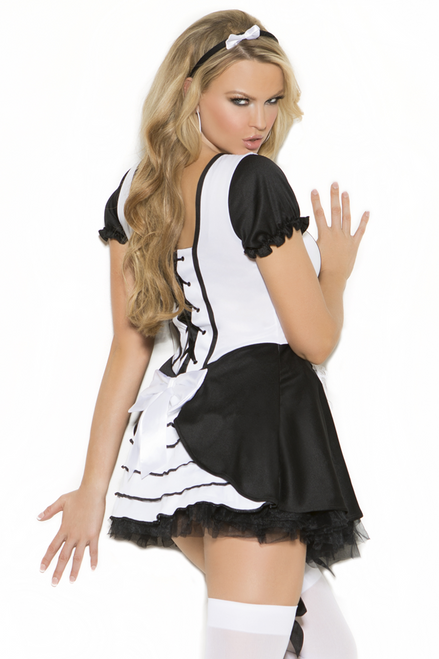 Shop this women's sexy French Maid costume with one piece dress and lace up back detail with attached apron