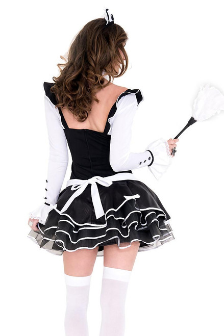 Shop this women's sexy French maid outfit with attached white apron and feather duster with cute white collar and black satin bow