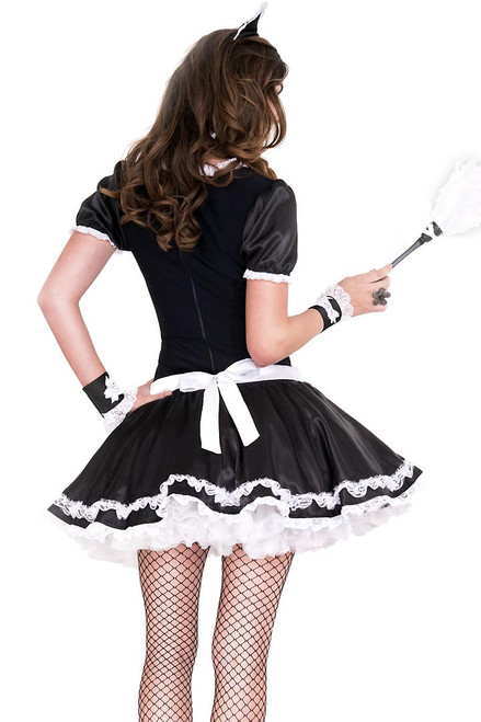 Shop this women's sexy French maid costume with white ruffle lace detail
