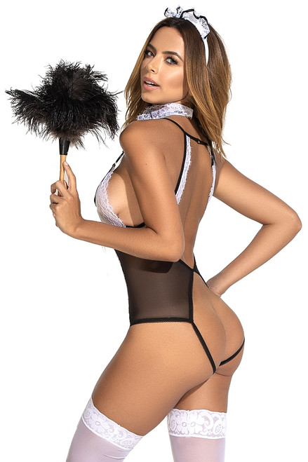 Assless lingerie, assless teddy lingerie, French maid lingerie assless