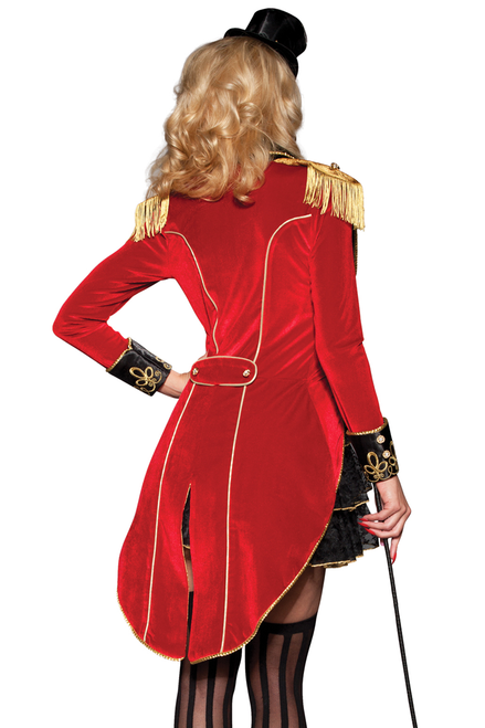 Shop this women's sexy ringmaster costume featuring a red velvet jacket with gold fringe detail