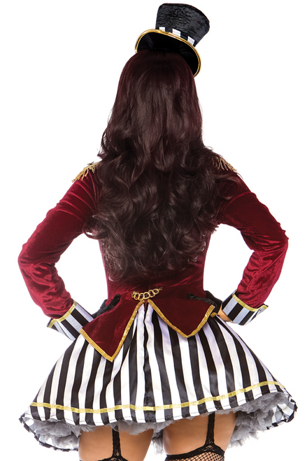 Shop this women's black and white striped skirt featuring a ringleader costume with red velvet coat