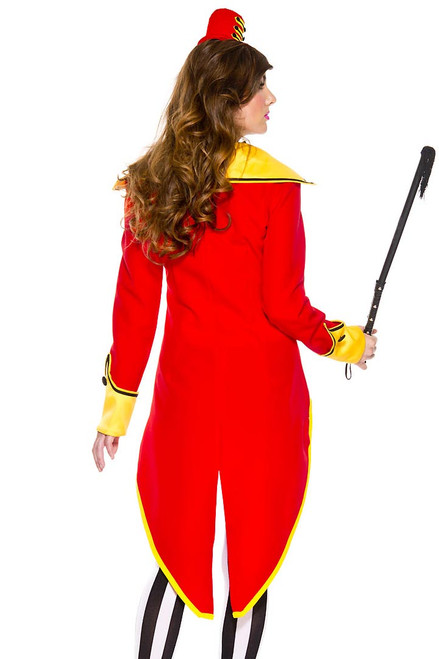 Shop this women's sexy ringmaster costume with red coat with tails