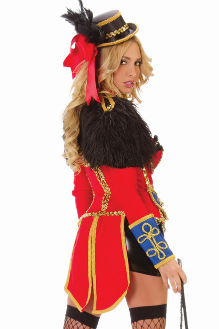 Shop this fun and flirty women's ringmaster costume with faux feather bolero and ringmaster tail