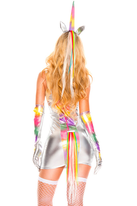 Shop women's  sexy silver unicorn costume with rainbow colored details.