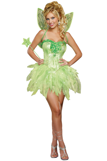 Shop this women's Tinkerbell dress costume featuring a glitter green corset tutu dress