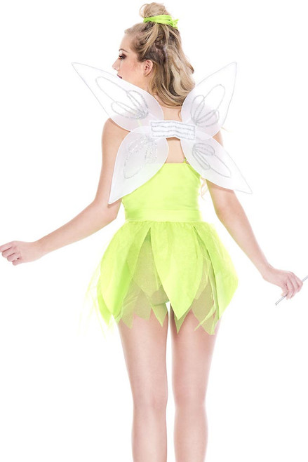 Shop this women's sexy tinker bell costume with lime green petal dress