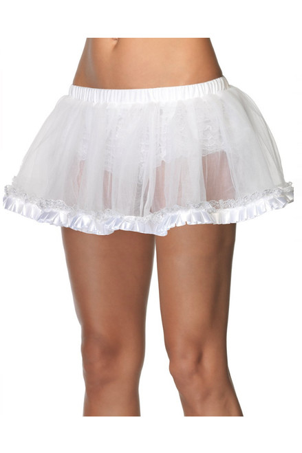 "Shop women's 12"" white petticoat with Pleated Satin Trim"
