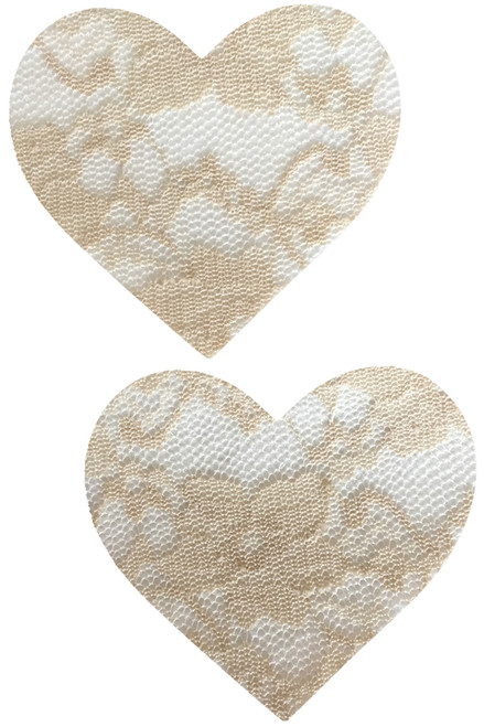 Beige lace on white heart nipple pasties