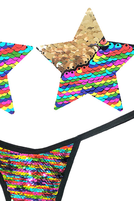 Shop these Funfetti Flip Sequin Nipple Pasties & G-String Panty that features multicolor and gold flip sequin nipple pasties and matching flip sequin g string panty