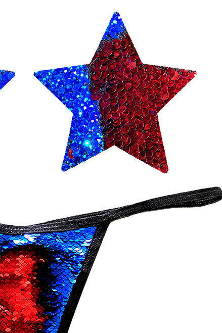 Shop these blue and red Flip Sequin Nipple Pasties & G-String Panty that features blue and red flip sequin nipple pasties and matching flip sequin g string panty