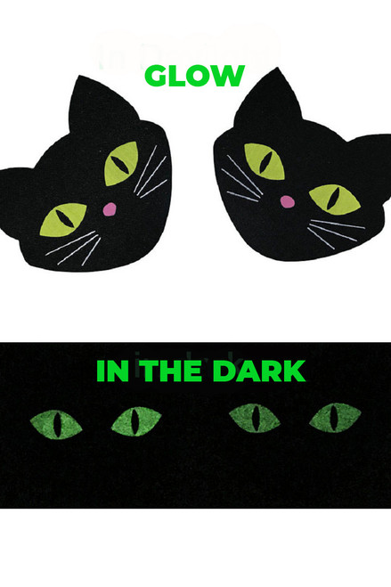 Shop these black cat nipple pasties with glow in the dark eyes!