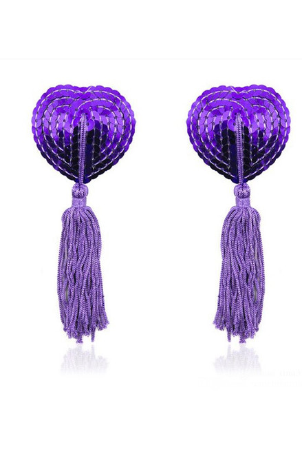 Shop these purple sequin tassel nipple pasties with heart shaped cone nipple pasties