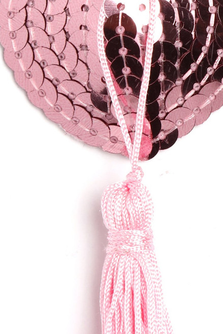 Shop these pink sequin tassel nipple pasties with heart shaped cone nipple pasties