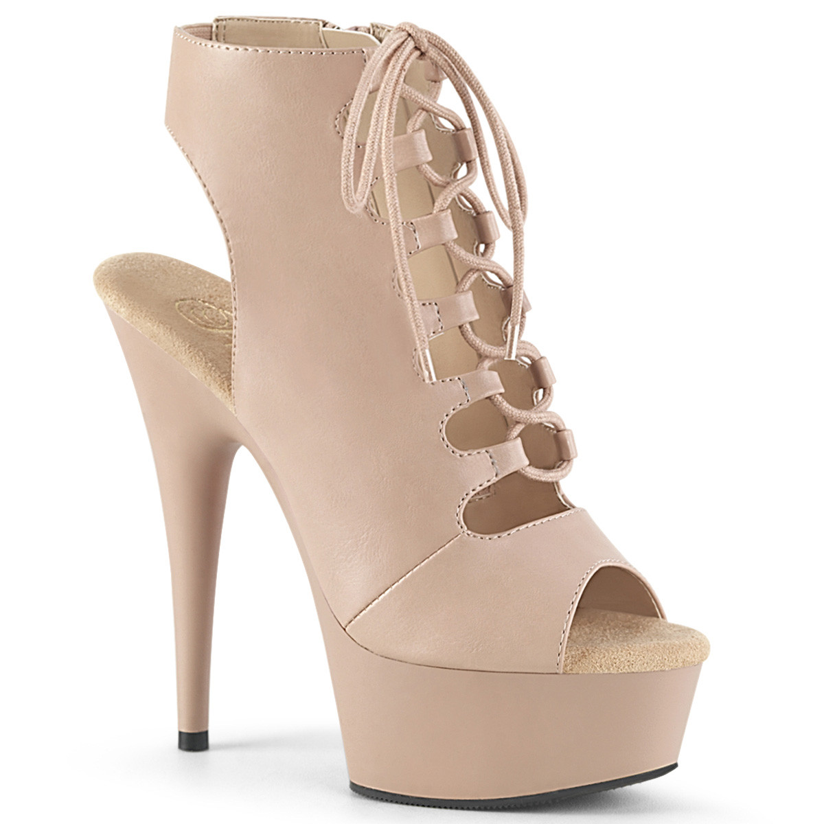 "6"" Heel Beige Lace-Up Ankle Boot*"