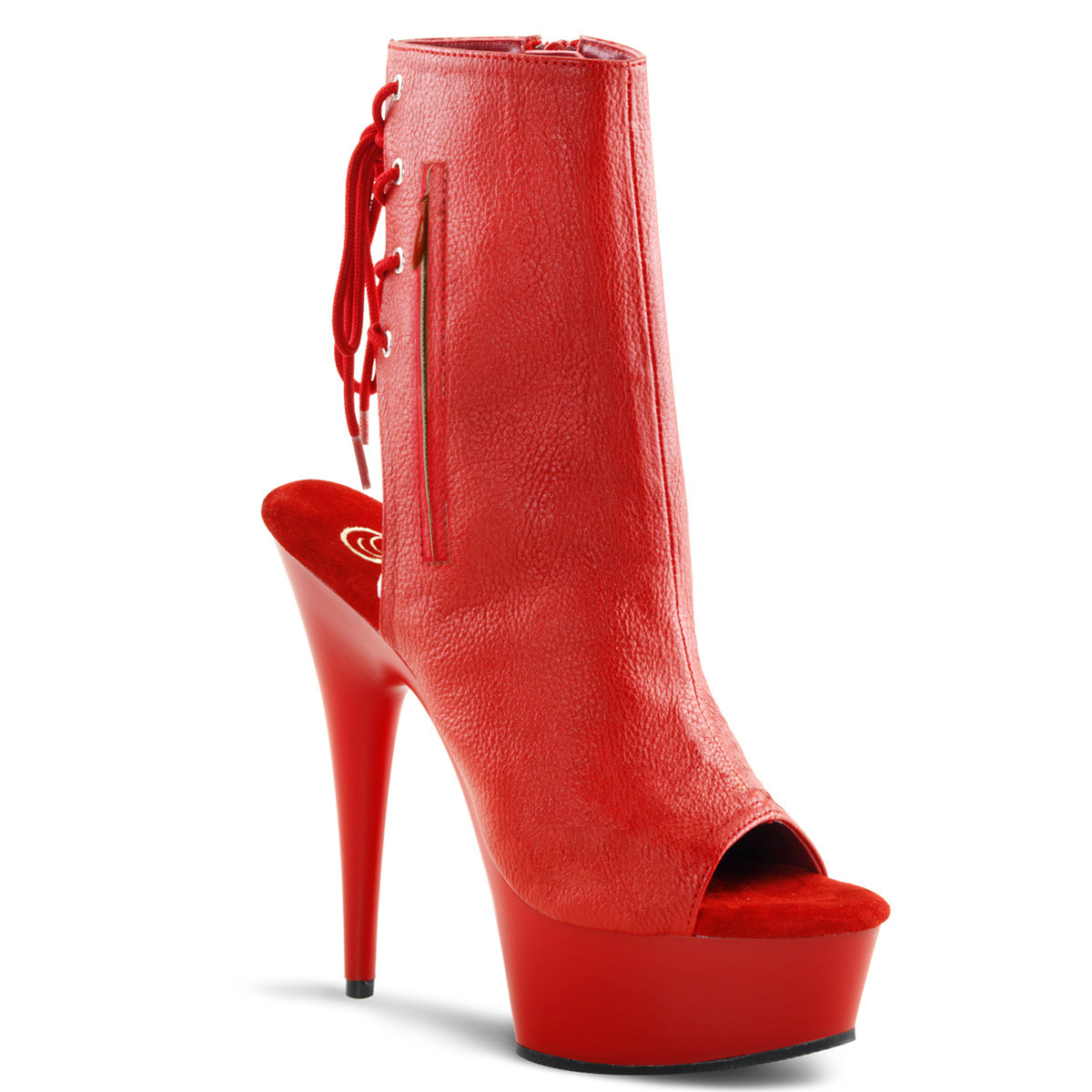 """6"""" Heel Red Faux Leather Ankle Boot*"""