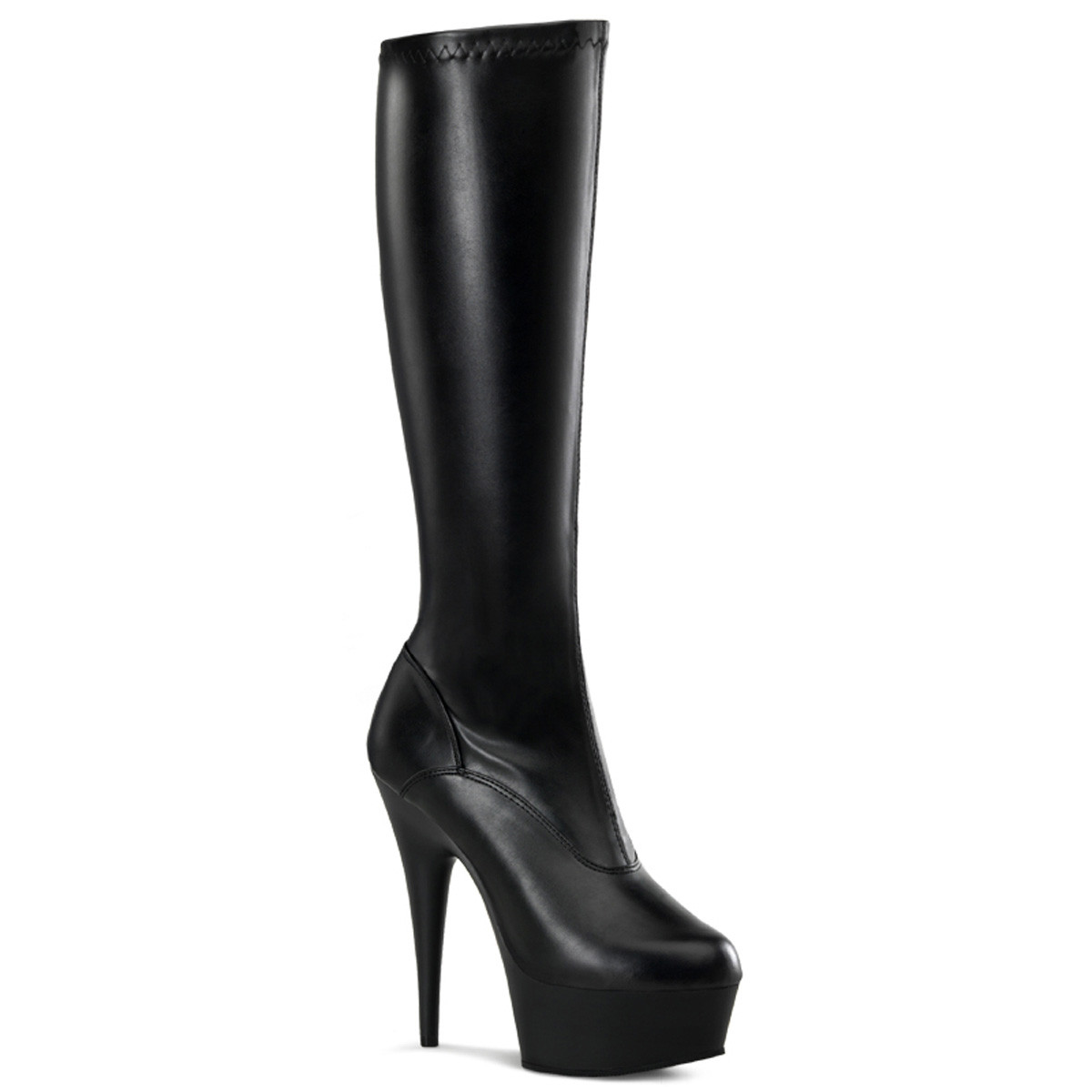"""6"""" Heel Black Faux Leather Over The Knee Boots*"""