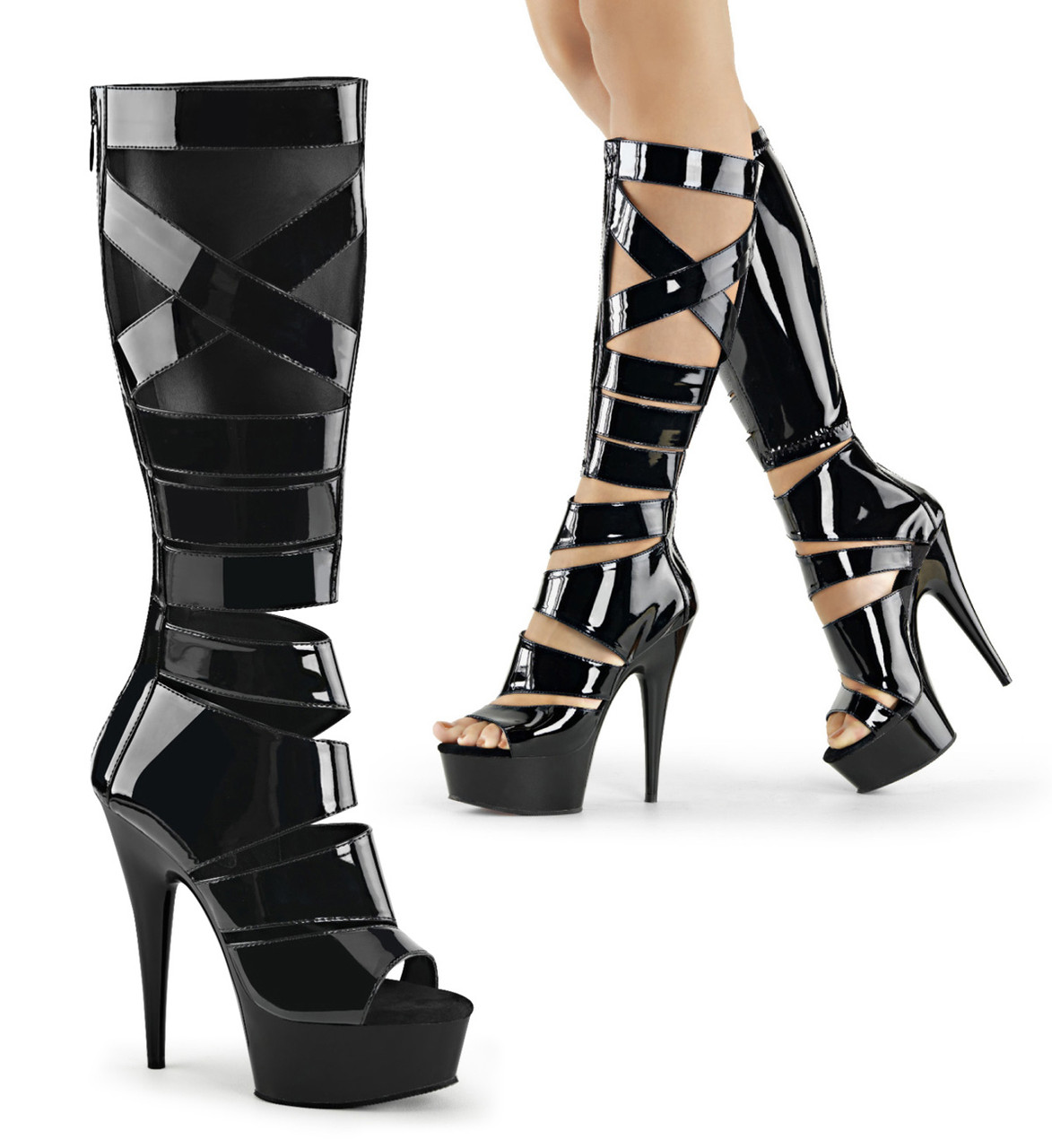 "6"" Heel Black Knee High Gladiator Boot*"