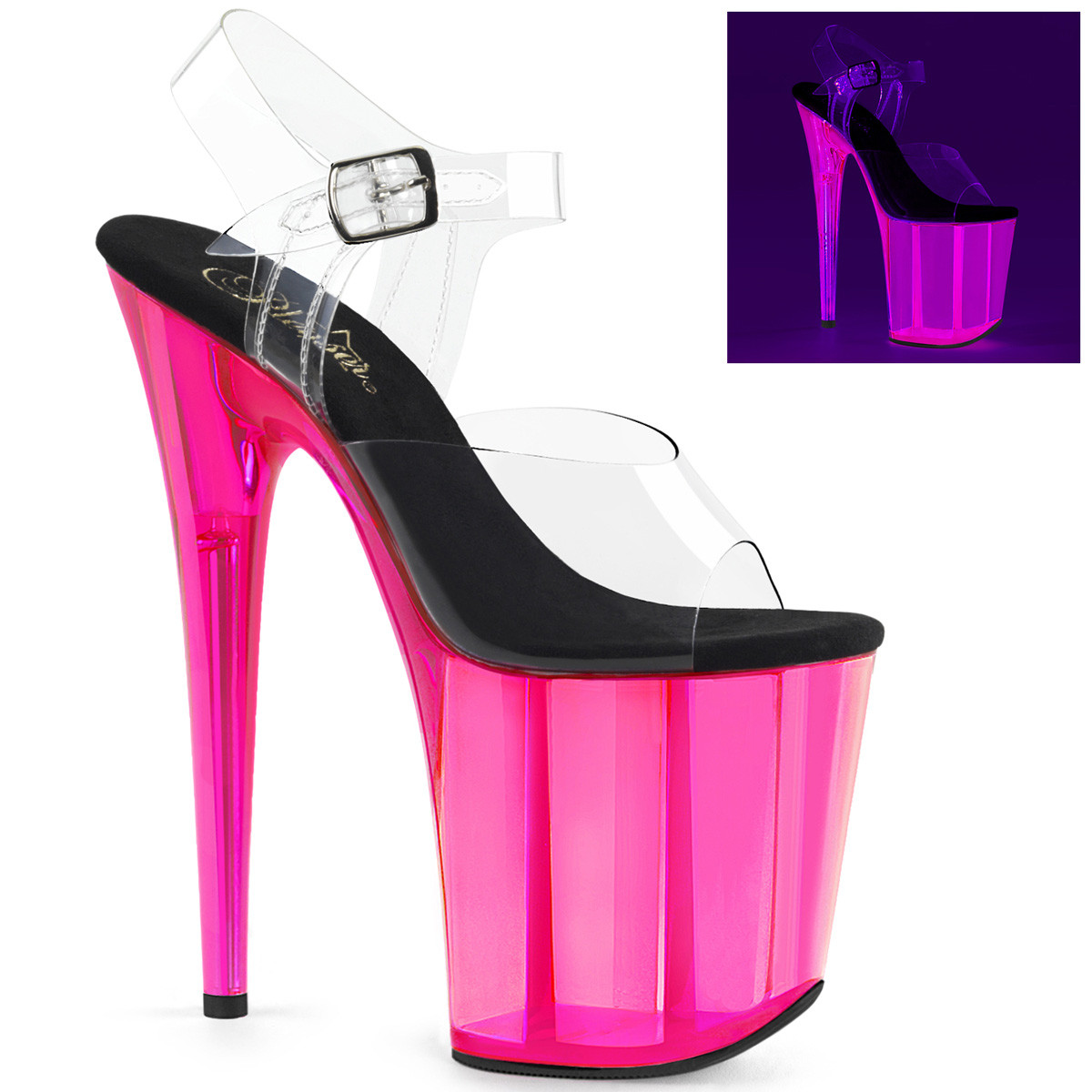 """8"""" Clear/Hot Pink Ankle Strap Stripper Heels*"""