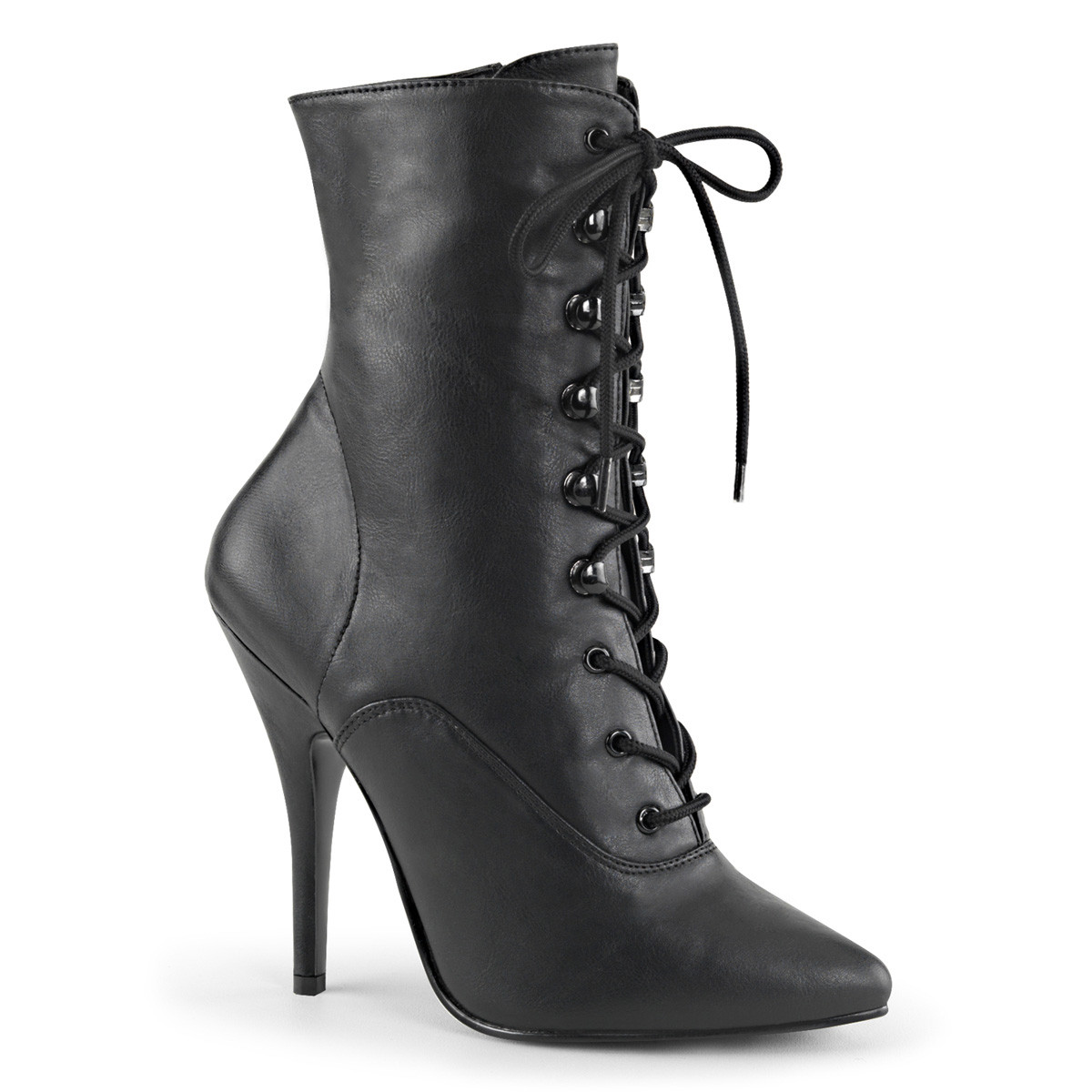 "5"" Black Lace-Up Faux Leather Ankle Boot*"