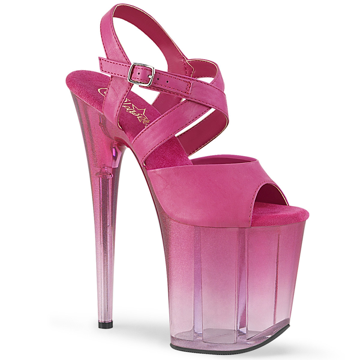 """8"""" Heel Clear/Fuchsia Faux Leather Platforms*"""